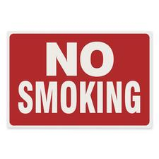 """U.S. Stamp & Sign No Smoking Sign - 1 Each - No Smoking Print/Message - 12"""" (304.80 mm) Width x 8"""" (203.20 mm) Height - Plastic - White, Red"""