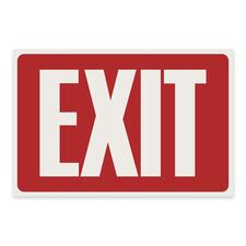 """U.S. Stamp & Sign Exit Sign - 1 Each - Exit Print/Message - 12"""" (304.80 mm) Width x 8"""" (203.20 mm) Height - Rectangular Shape - White Print/Message Color - Plastic - White, Red"""