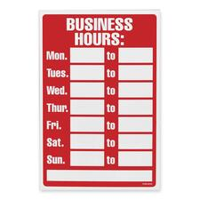 """U.S. Stamp & Sign Business Hours Sign - 1 Each - Business Hour Print/Message - 12"""" (304.80 mm) Width x 8"""" (203.20 mm) Height - Rectangular Shape - White Print/Message Color - Plastic - White, Red"""
