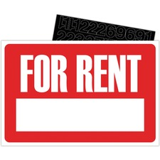 """U.S. Stamp & Sign For Rent Sign Kit - 1 Each - For Rent Print/Message - 12"""" (304.80 mm) Width x 8"""" (203.20 mm) Height - Rectangular Shape - White Print/Message Color - Plastic - White, Red"""