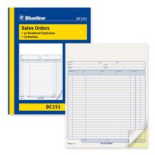 "Blueline Sales Order Book - 50 Sheet(s) - 2 Part - Carbonless Copy - 8 1/2"" x 11"" Sheet Size - Blue Print Color - Blue Cover - 1 Each"