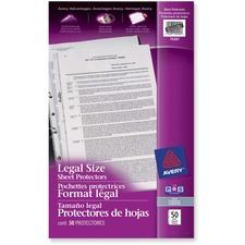 "Avery® Sheet Protector - For Legal 8 1/2"" x 14"" Sheet - Ring Binder - Rectangular - Clear - 50 / Pack"