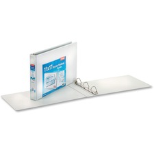"""Cardinal 11"""" x 17"""" , ClearVue Slant-D Ring Binder - 1"""" Binder Capacity - Tabloid - 11"""" x 17"""" Sheet Size - 240 Sheet Capacity - 1"""" Spine Width - 3 x D-Ring Fastener(s) - Vinyl - White - 1.06 kg - Recycled - Clear Overlay - 1 Each"""