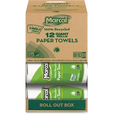 MRC 06183 Marcal 100% Recycled Giant Rolls Paper Towels MRC06183