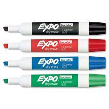 SAN 80174 Sanford Expo Low-Odor Dry Erase Chisel Tip Markers SAN80174