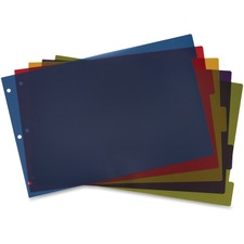 """Cardinal Poly Divider with Adhesive Tabs - 5 x Divider(s) - 5 Tab(s)/Set - 17.50"""" Divider Width x 11.50"""" Divider Length - Tabloid - 11"""" Width x 17"""" Length - 3 Hole Punched - Assorted Poly Divider - Multicolor Poly Tab(s) - 1 / Set"""