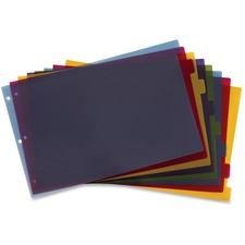 """Cardinal Poly Divider with Adhesive Tabs - 8 x Divider(s) - 8 Tab(s)/Set - 17.50"""" Divider Width x 11.50"""" Divider Length - Tabloid - 11"""" Width x 17"""" Length - 3 Hole Punched - Assorted Poly Divider - Multicolor Poly Tab(s) - 1 / Set"""