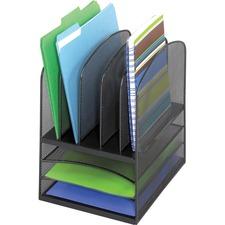 "Safco Onyx Mesh Letter Tray Desktop Organizer - 5 Compartment(s) - 13"" Height x 11.4"" Width x 9.5"" Depth - Desktop - Black - Steel - 1 Each"