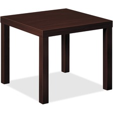 "HON BL Series Corner Table - Laminated, Mahogany Top - 24"" Table Top Length x 20"" Table Top Width x 24"" Table Top Depth x 2"" Table Top Thickness - Mahogany"