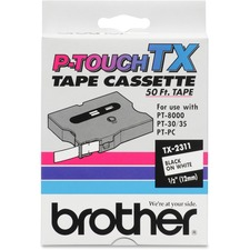 "Brother TX-2311 1/2"" Laminated Tape, Black on White"