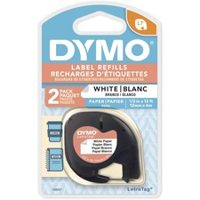 "Dymo LetraTag Electronic Labelmaker Tape - 1/2"" Width - Direct Thermal - White - Paper - 2 / Pack"