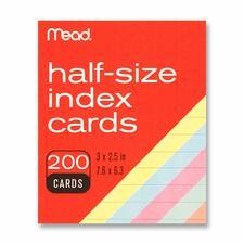 MEA 63039 Mead Half Size Color Index Cards MEA63039