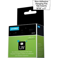 "Dymo Hanging File Tab Inserts - 9/16"" x 2"" Length - Direct Thermal - White - 260 / Roll - 260 / Roll"