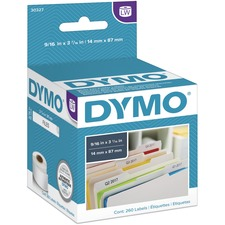 "Dymo LabelWriter File Folder Labels - 9/16"" x 3 7/16"" Length - Direct Thermal - White - 130 / Roll"