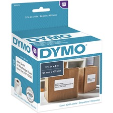 "Dymo LW Shipping Labels - 2 1/10"" Width x 4"" Length - Rectangle - White - 220 / Roll"