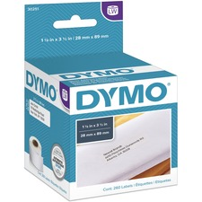"Dymo White Address Labels - Permanent Adhesive - 3 1/2"" Width x 1 1/8"" Length - Rectangle - Direct Thermal - White - Paper - 130 / Roll - 260 / Box"