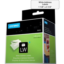 "Dymo LabelWriter Address Labels - 1 1/8"" x 3 1/2"" Length - White - Paper - 350 / Roll"