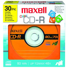 Maxell Color CD-R Media, 30 Pack