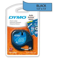"Dymo LetraTag Label Maker Tape Cartridge - 1/2"" x 13 ft Length - Rectangle - Direct Thermal - Blue - Polyester - 1 Each"
