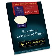 Southworth Exceptional Letterhead Paper - Letter - 8.5'' x 11'' - 28lb - Recycled - Wove - 100 / Box - Ivory