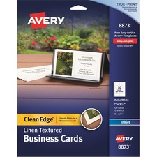 AVE 8873 Avery Linen Textured 2-sided Clean Edge Bus. Cards AVE8873