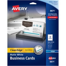 AVE 8871 Avery Clean Edge Custom 2-Sided Business Cards AVE8871