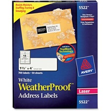 AVE5522 - Avery&reg WeatherProof Mailing Labels with TrueBlock Technology