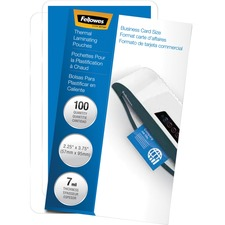 FEL 52059 Fellowes Glossy Business Card Laminated Pouches FEL52059