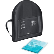 "Fellowes Heat and Soothe Back Support - Temperature Control, Comfortable, Adjustable Strap, Buckle Closure, Soft, Slim Profile Design - Strap Mount - 14.50"" (368.30 mm) x 3"" (76.20 mm) x 13.63"" (346.20 mm) - Black"