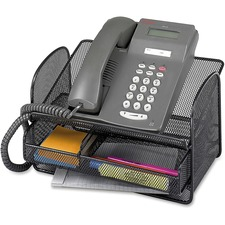 "Safco Onyx Mesh Telephone Stand - 7"" Height x 11.8"" Width x 9.3"" Depth - Desktop - Adjustable - Black - Steel - 1 Each"