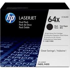 HP 64X (CC364XD) Original Toner Cartridge - Dual Pack - Laser - 24000 Pages - Black