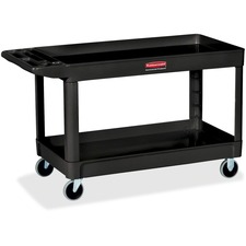 "RCP 9T6700BLA Rubbermaid Comm. 4"" Casters 2-shelf Utility Cart RCP9T6700BLA"