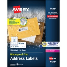 AVE5520 - Avery&reg WeatherProof Mailing Labels with TrueBlock Technology
