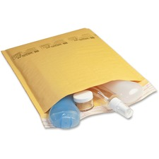 """Jiffy Mailer Laminated Air Cellular Cushion Mailers - Padded - #0 - 6"""" Width x 10"""" Length - Self-sealing - Kraft - 10 / Pack - Golden Brown"""