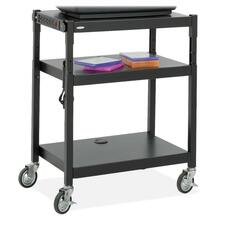 "Safco Adjustable Height A/V Cart - Up to 20"" Screen Support - 54.43 kg Load Capacity - 3 x Shelf(ves) - 36.50"" (927.10 mm) Height x 27.25"" (692.15 mm) Width x 18.25"" (463.55 mm) Depth - Floor Stand - Powder Coated - Steel - Black"