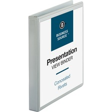 "Business Source Round Ring Standard View Binders - 1"" Binder Capacity - Letter - 8 1/2"" x 11"" Sheet Size - 225 Sheet Capacity - 3 x Ring Fastener(s) - 2 Internal Pocket(s) - White - 226.8 g - Recycled - 1 Each"