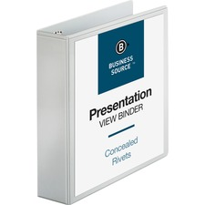 "Business Source Round Ring Standard View Binders - 2"" Binder Capacity - Letter - 8 1/2"" x 11"" Sheet Size - 475 Sheet Capacity - 3 x Ring Fastener(s) - 2 Internal Pocket(s) - White - 453.6 g - Concealed Rivet, Non Locking Mechanism, Clear Overlay, Sheet Lifter"