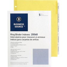 BSN 20068 Bus. Source Buff Stock Ring Binder Indexes BSN20068