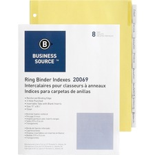 BSN 20069 Bus. Source Buff Stock Ring Binder Indexes BSN20069