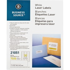 "Business Source Bright White Premium-quality Address Labels - Permanent Adhesive - 1"" Width x 2 5/8"" Length - Rectangle - Laser, Inkjet - White - 30 / Sheet - 250 Total Sheets - 7500 / Pack"