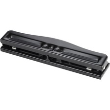 "Business Source 3-Hole Adjustable Paper Punch - 3 Punch Head(s) - 11 Sheet Capacity - 1/4"" Punch Size - Round Shape - Black"