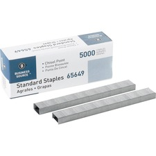 "Business Source Chisel Point Standard Staples - 210 Per Strip - 1/4"" Leg - 1/2"" Crown - Holds 30 Sheet(s) - Chisel Point - Silver - 5000 / Box"