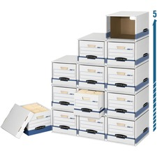 """File/Cubeâ""""¢ Box Shell ? Letter/Legal - Internal Dimensions: 12"""" (304.80 mm) Width x 15"""" (381 mm) Depth x 10"""" (254 mm) Height - External Dimensions: 13.9"""" Width x 16.9"""" Depth x 11.4"""" Height - Media Size Supported: Letter, Legal - Flip Top Closure - Stackable - Fiberboard, Steel - White, Blue - For File - Recycled - 1 / Carton"""