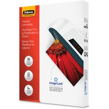 Fellowes Glossy Pouches - 5 mil, Letter, 50 pack