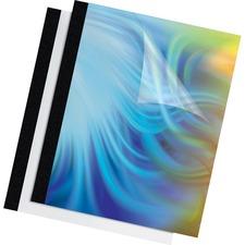 "Fellowes Thermal Presentation Covers - 11"" Height x 8.5"" Width x 0.4"" Depth - 0.6"" Maximum Capacity - 90 x Sheet Capacity - Rectangular - Black, Clear - Polyvinyl Chloride (PVC)"