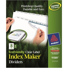 AVE11581 - Avery&reg Index Maker EcoFriendly Print & Apply Clear Label Dividers