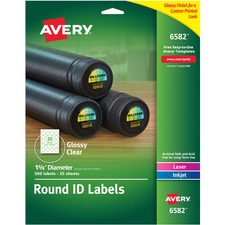 AVE 6582 Avery Glossy Permanent Multipurpose Round Labels AVE6582