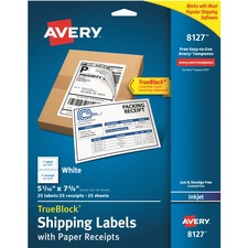 AVE 8127 Avery Inkjet White Shipping Label w/ Paper Receipt AVE8127