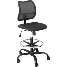 Safco Vue Extended Height Mesh Chair - Black Polyester Seat - Nylon Back - 5-star Base - Black - 1 Each