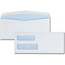 "Quality Park No. 10 Double Window Security Envelopes - Security - #10 - 9 1/2"" Width x 4 1/8"" Length - 24 lb - Gummed - 500 / Box - White"
